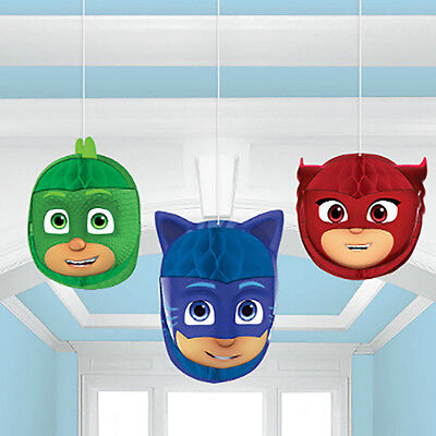 PJ Masks Honeycomb Balls Hanging Decorations Birthday Party Supplies Favors ~3ct - Hanging Ball Decorations