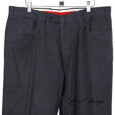 #1 MENSWEAR RECENT Isaia Napoli Solid Grey Flannel Flat Front Pants Trousers 52