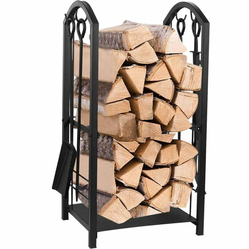 Firewood Rack with 4 Fireplace Tools Set, Indoor & Outdoor Fireplace Log Holder