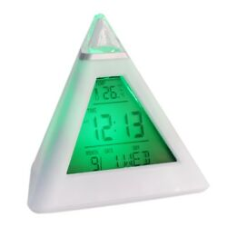 TRIANGLE PYRAMID TIME  LED ALARM 7 COLOR CHANGE DIGITAL LCD CLOCK THERMOMETER