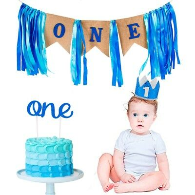 1st Birthday Boy Party Supplies (1st Birthday Boy Party Decor Banner Bunting High Chair Supplies Cupcake Topper)