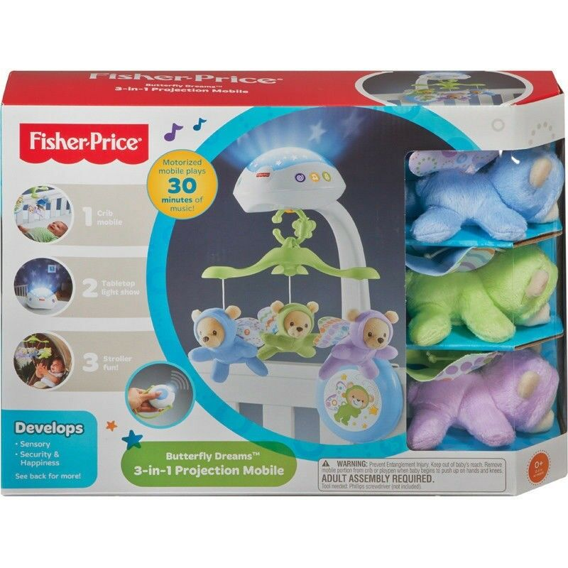 Fisher Price Erfly Dreams 3 In 1 Projection Baby Mobile