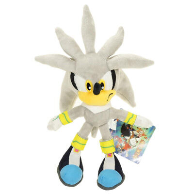 "Silver Sonic Hedgehog 11"" Figure Plush Soft Doll Stuffed Toy 28cm Christmas Gift"