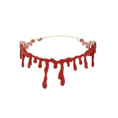 en Halskette Unecht Narbe Schliff Gothic Gruselig Choker (Blut Tropfen)