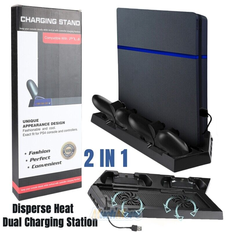 US Vertical Cooling Fan Stand with Dual Controller Charger For PS4/ Slim/PS4 Pro