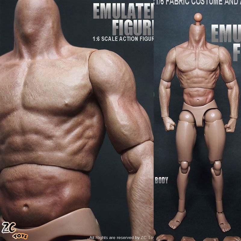 """US 12"""" ZC Toys Male Action Figure Muscular Body For 1/6 Scale HT Man Head Model"""