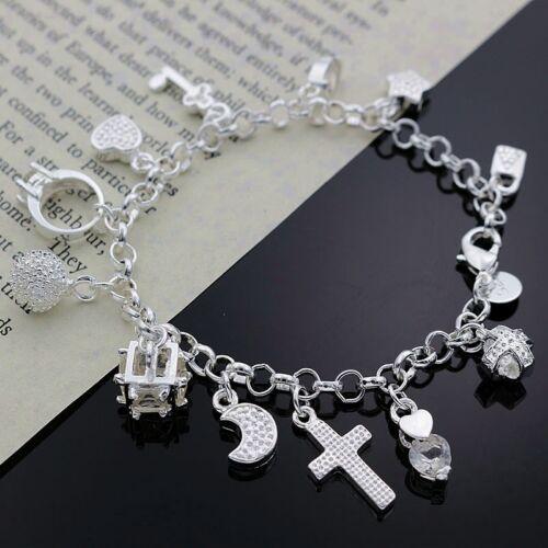 925 nice best Silver Plated Fashion Women 13 Charm pendant Beautiful Bracelet