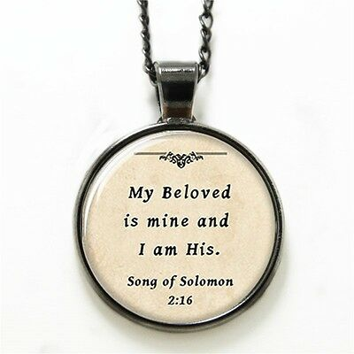 Song Of Soloman (Necklace Glass Domed Beige Song of Soloman 2:16 Scripture Love)