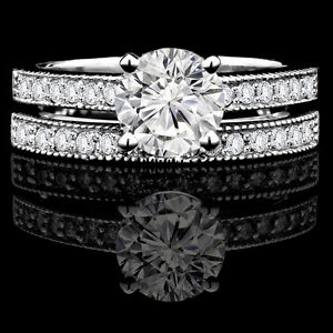 Set d'alliances 14k or blanc 1.65CTW Diamond Engagement Ring Set