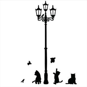 Lampe-Katze-Wandsticker-Tiere-Voegel-Wandtattoo-WandAufkleber-Sticker