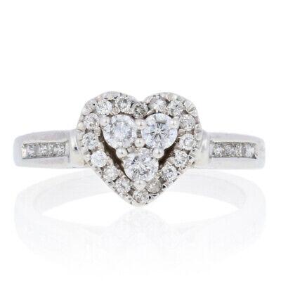 25ctw Round Brilliant Diamond Ring - 10k Gold Halo Heart Engagement Promise