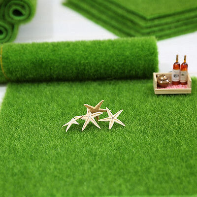 Artificial grass fairy garden ornament dollhouse fake lawn for Faux grass for crafts