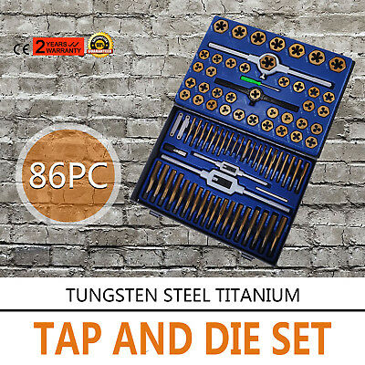 New 86pc Tap And Die Combination Set Tungsten Steel Titanium Sae Metric Tools