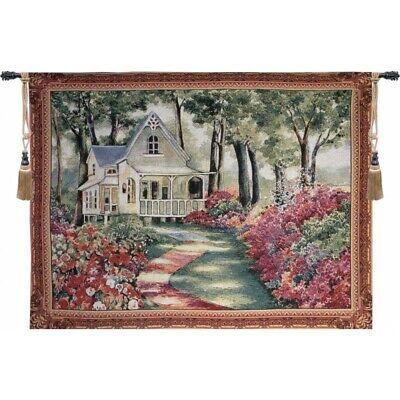 Garden Path to Home Country Floral Garden European Woven Tapestry Wall -