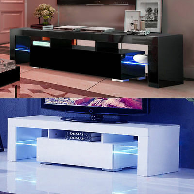 High Gloss TV Unit Cabinet Stand with LED Lights Shelves Home Furniture (Tv Stand With Cabinets)