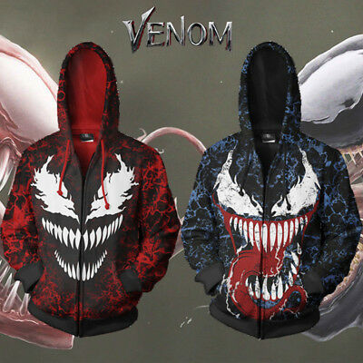 Spiderman Hoodie Mens (Venom Spiderman Men's Hoodie Sweater Jacket Zip Coat 3D Cosplay Pullover)