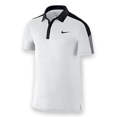 Nike Mens Tennis Dri-Fit Team Court Polo Federer Polo Shirt LARGE 644788 100 NWT