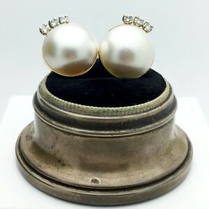 Vintage 14k Yellow Gold Cultured Mabe Pearl and Diamond earrings