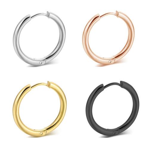 2PCS Stainless Steel Hoop Earrings for Men Women Teen Hoop Huggie Ear Piercings