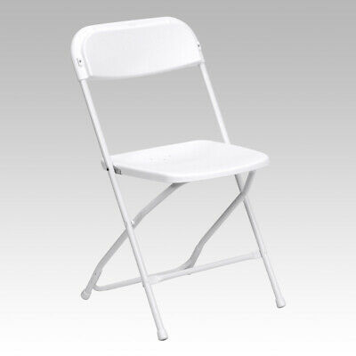 100 Chairs 650 Lbs Capacity White Plastic Folding Chairs Commercial Quality