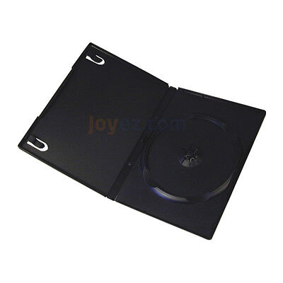 50 pk Standard 14mm Single CD DVD Black Movie Case Storage Box with Outter Cover