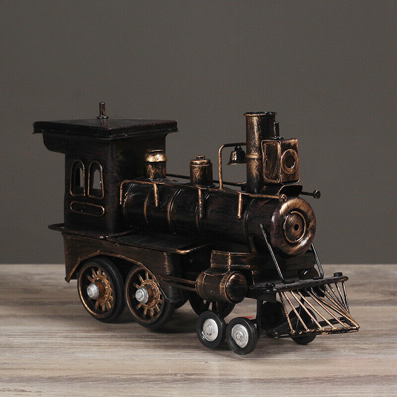 Classic Rustic Steam Engine Metal Trains Model for Home Office Decor 11.4″x6.3″ Holiday & Seasonal Décor