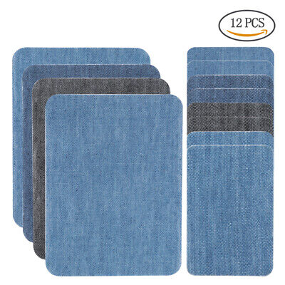 12pcs 4 Color DIY Iron on Denim Fabric Patches for Clothing Jeans Repair Kit USA