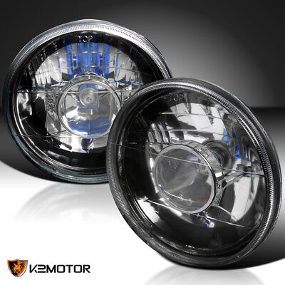 "7"" Round Diamond Crystal Black Projector Headlights H4 for sale  Shipping to Canada"