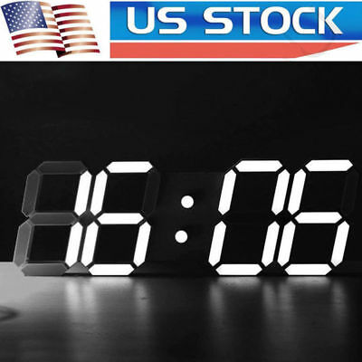 Modern Digital Led Table Desk Night Wall Clock Alarm Watch 24 12 Hour Display Et