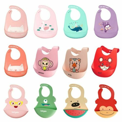 Baby Bibs Waterproof Silicone Feeding Baby Saliva Towel Newborn Cartoon Aprons
