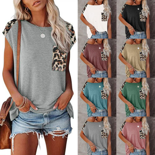 Summer Women Casual Loose Top V Neck Short Sleeve T Shirt Stripe Gradient Blouse Clothing, Shoes & Accessories