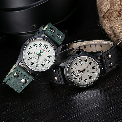 SOKI Vintage Classic Mens DAILY Waterproof Date Leather Sport Quartz  Watches