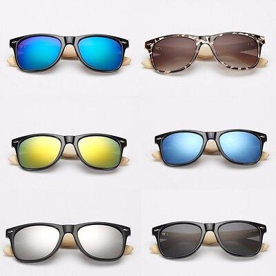 Sonnenbrille Brille Unisex Bügel aus Holz Nerd Style Bambus Herren Damen S5 NEU