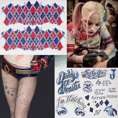 Halloween Einmal Tattoos Harley Quinn Temporary Tattoo Wasserfest Body Sticker