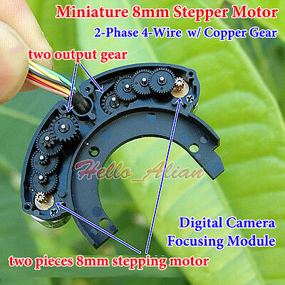 2pcs 2-phase 4-wire Micro Mini 8mm Stepping Stepper Motor Copper Gear Diy Camera