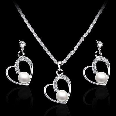 (Lovely Lady White Pearl Rhinestone Crystal Necklace Earrings Set Wedding Jewelry)