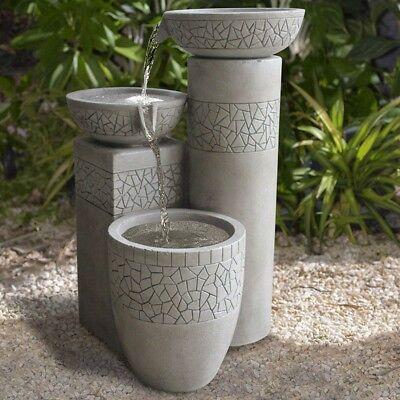 Modern 3-Tier Concrete Cast Stone Fiberglass Bowl Water Fountain Garden Patio for sale  Bolivar