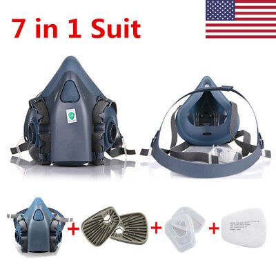 Us 7 In 1 Protection Half Face Respirator 7502 Gas Dust Mask Spray Paint Mask
