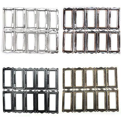 10 Pcs Antique Brass Drawer Label Pull Frame Handle File Name Card Holder VU (Label Holder Antique Brass)