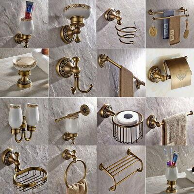 Antique Brass Carved Bathroom Accessories Set Bath Hardware Towel Bar eset007 ()