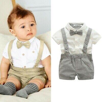 Baby Boy Wedding Formal Suit Bowtie Gentleman Romper Tuxedo