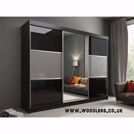 SAME DAY FAST DELIVERY-- BRAND NEW RUMBA SLIDING DOORS WARDROBE IN BLACK AND GREY