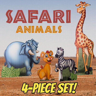 SAFARI ANIMALS Set of 4 Cartoon CARDBOARD CUTOUT Standups Standees African F/S - Cut Out Stand Ups