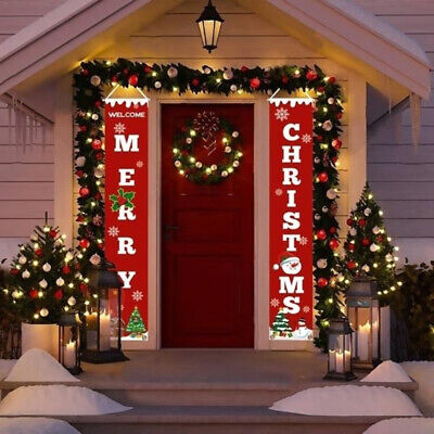 Merry Christmas Banner Door Decoration Hanging Christmas Ornament Room Party US ()