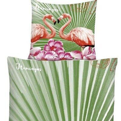 Garten Bettbezug (Florida FLAMINGOS IM GARTEN Bettwäsche Mikrofaser 135x200 cm)