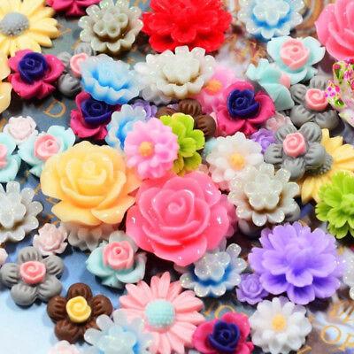 Craft Embellishments (50 Resin Beads Rose Flower Flat Back Embellishment Cabochons Craft Decor)