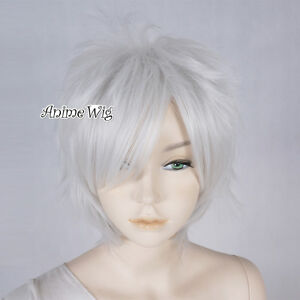 Silver White Heat Resistant  Layered 30cm Short Women Men Anime Cosplay Wig+ Cap