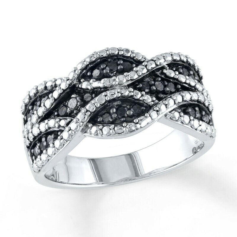 Wavy Stripe Ring with Black & White Crystals in Rhodium-Plated Bronze Fashion Jewelry