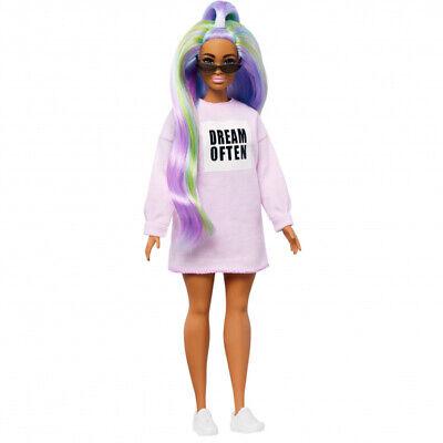 Barbie GHW52 Fashionistas Curvy Doll Long Rainbow Hair with Sweatshirt Dress