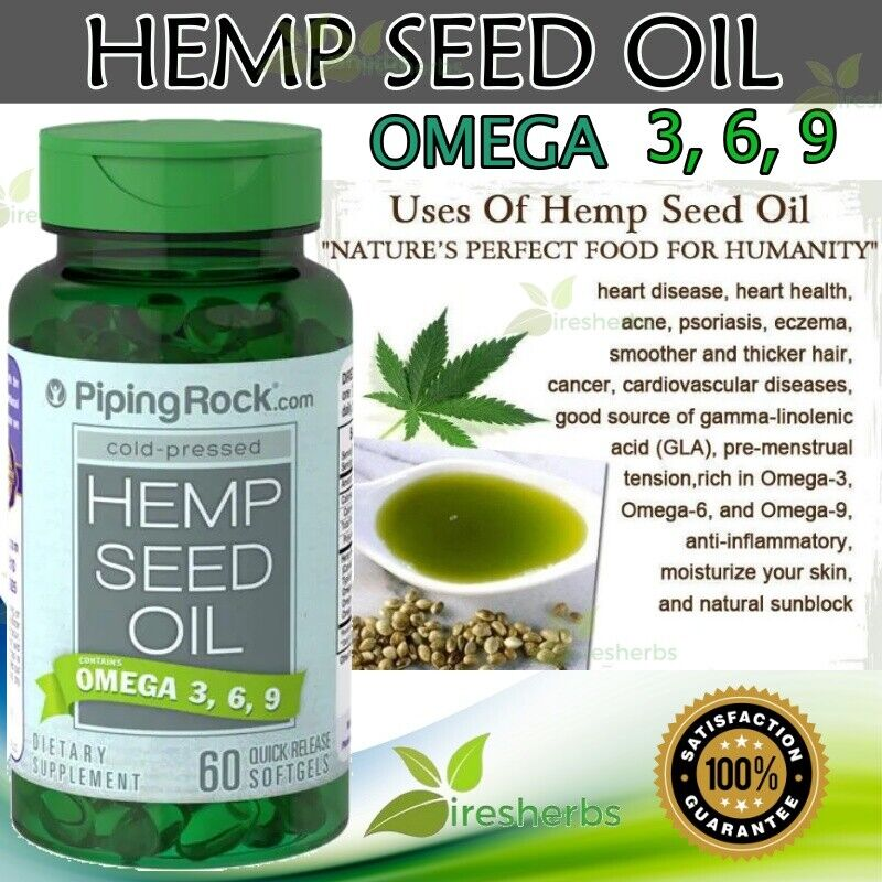 HEMP SEED OIL OMEGA 3-6-9 1000mg Heart Inflammation Skin Joint Supplement 60 ct